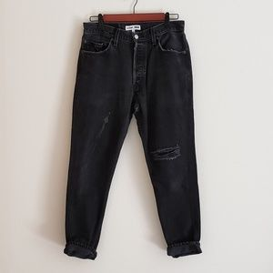 Re/Done Levi's High Rise Ankle Crop in Faded Black